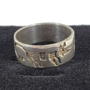 Egyptian Themed Sterling Silver Ring 7.5